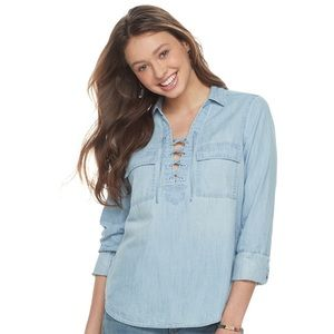 SO Lace-Up Chambray Top